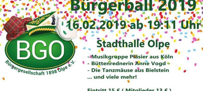 Karnevalistischer Hochgenuss beim Bürgerball am 16.02.2019