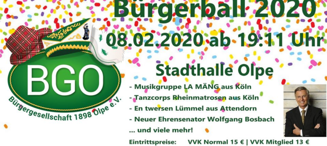 Kartenvorverkauf Bürgerball 2020